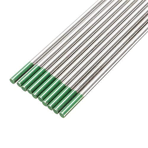 Tanstool - Electrodo de tungsteno para soldadura de arco bajo argón, aguja de tungsteno, aguja de tungsteno puro, para máquina de soldadura TIG, WP(verde) 4,0 mm x 150 mm