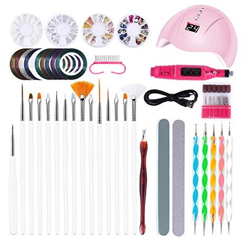 OhhGo Kit de manucure pour nail art 36 W Séchoir à ongles électrique Lumière Lime à ongles Pinceaux Strass Stylo de décoration