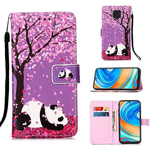 Miagon für Xiaomi Redmi Note 9S Leder Hülle,Klapphülle mit Kartenfach Brieftasche Lederhülle Stossfest Handy Hülle Klappbar,Kirschblüten Panda