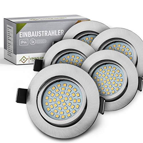 VMAS | LED Einbaustrahler 230v extra flach − Inkl. 5x 5w 450lm LED Spot − 3000K Warmweiß − Connector integriert − IP44 − [Energieklasse A+]