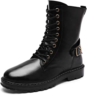Sunny&Baby Men's Fashion Ankle Work Boot Retro Colors Imitation Army High-top Martin Boots Durable (Color : Black, Size : 5.5 UK)