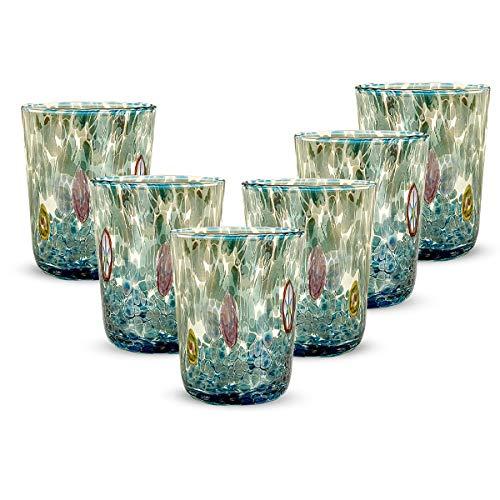 Gocce di Murano Set 6 Bicchieri Pioggia Arcobaleno in Vetro di Murano soffiato 240ml Lavorazione a Mano Colorati Confezione 6 calici per Acqua Eleganti e preziosi (Acquamarina, 6)