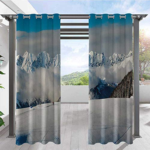 Adorise Outdoor Waterproof Curtain Panoramic View on Mountains and Two People Walking in French Alps Hiking Travel Darkening Window Panel Great for Your Outdoor Deck W120 x L108 Inch