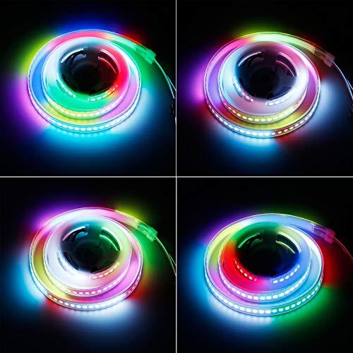 KXZM WS2812B Individuell adressierbare 5 V RGB LED Lichtleiste 1 m 144 Pixel, USB-betrieben mit Fernbedienung 5050 SMD Dream Color No-Waterproof IP33 Schwarz PCB LED Streifen für DIY Projekte