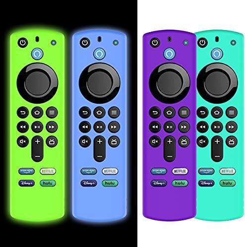 AIYAAIYA 4 PCS Funda Protectora para Alexa Voice Remote (3rd Gen) 2021, Estuche de Silicona para Fire TV Stick 4K Mando a Distancia con Cuerda Antipérdida (Glow Azul+Glow Verde+Azul Hielo+Púrpura)