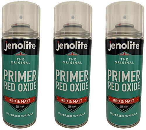 JENOLITE 3 x Red Oxide Primer, Anti Rust Zinc Spray Paint - 400ml