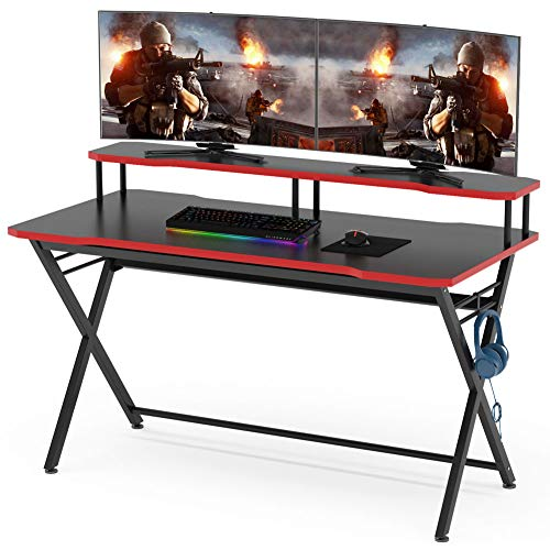 Tribesigns 55 inch Large Gaming Desk for 2 Monitors, Ergonomic PC Gaming Table Gamer Computer Desk with Monitor Stand and Headphone Hook for Home Office