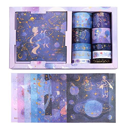 Diealles Shine Bronceado Washi Tapes Set, 10 Rollos Washi Tapes con 10 Hojas de Pegatinas, Cinta Adhesiva Decorativa para DIY Manualidades Revistas Planificadores Tarjetas Scrapbook