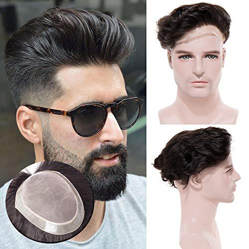 TESS Toupet für Männer Echthaar Extensions Toupee Herren Pony Haarteil Haarverlängerung Naturschwarz Perücken 15 x 20 cm Mono Netz