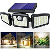 Solar Lights Outdoor 3 Heads, Claoner Upgraded 128 LED Solar Motion Sensor Security Light with 360° Wide Lighting Angle, Easy to Install, IP65 Waterproof Durable Solar Powered Flood Lights for Outside