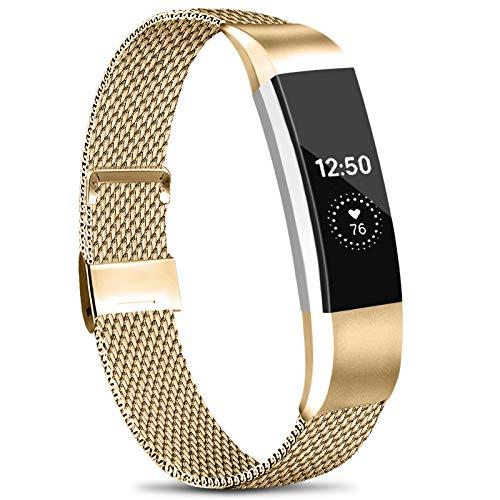 Amzpas Bracelet Compatible avec Fitbit Alta HR/Fitbit Alta Bracelet, en Acier Inoxydable avec Une Fermeture à Aimant Unique pour Fitbit Alta/Fitbit HR Fitness (02 Or Rose, S)