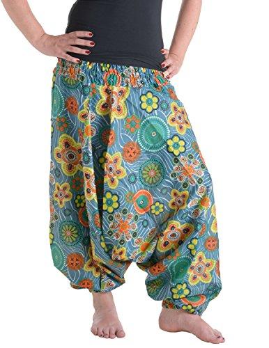 Vishes – Alternative Bekleidung Alternative Bekleidung - Weite Hippie Pluderhose aus Baumwolle mit Blumen türkis Einheitsgröße 34 bis 42