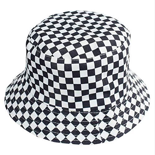 ZHENQIUFA Sombrero Pescador Gorras Sombrero De Cubo A Cuadros Blanco Y Negro, Sombreros De Algodón De Moda para Mujer, Sombrero De Panamá Reversible, Sombrero De Pescador