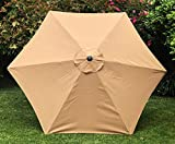 BELLRINO DECOR Replacement Medium Coffee/Taupe Strong & Thick Umbrella Canopy for 9ft 6 Ribs Medium Coffee/Taupe (Canopy Only) (Medium Coffee 96)