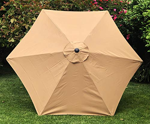 BELLRINO Replacement Umbrella Canopy for 9ft 6 Ribs Tan Color (Canopy Only)