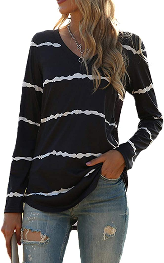 Tobrief Women's Long Sleeve Limited Special Price Sale item V-Neck Loose Casual T-Shi Tee Shirts