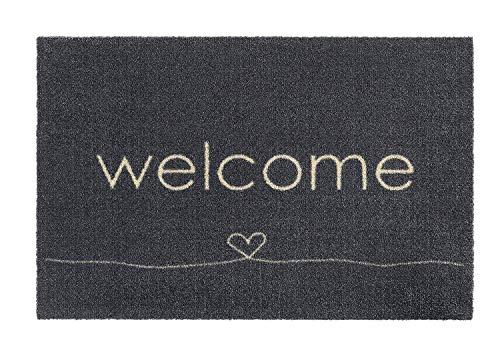 Fußmatten Fußmatte Fussmatten Bodenmatte Schmutzmatte Schuhabstreifer Willkommen Welcome Herz grau 49 x 74 cm für innen Innenbereich außen aussen draussen geeignet - waschbar Haustür Küche Teppich