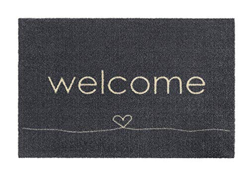 Fußmatten Fußmatte Fussmatten Bodenmatte Schmutzmatte Schuhabstreifer Willkommen Welcome Herz grau 50 x 75 cm für innen Innenbereich außen aussen draussen geeignet - waschbar Haustür Küche Teppich