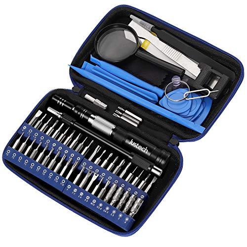 Justech 58 en 1 Kit de Destornilladores de Precisión Magnetic Driver Kit con Multi 40 Bits, Profesional Mini Kit de Herramienta de Reparación con Bolsa Portátil para Laptops,PC,Smartphones,Relojes