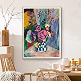 AdoDecor Vintage Matisse Peonies Flower Canvas Pinturas al óleo Master Poster Prints Marco de Madera de Bricolaje Wall Art Pictures Cocina Decoración para el hogar 30x40cm con Marco