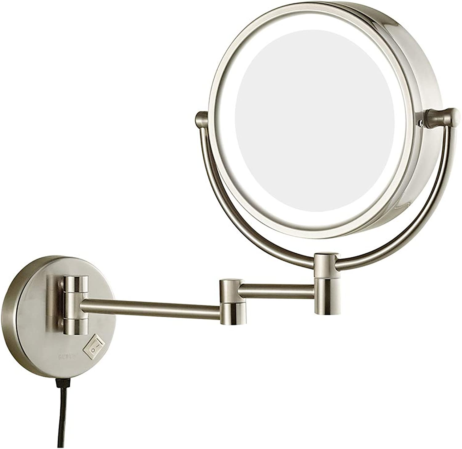 8.5  Led Lighted Wall Mount Makeup Mirror, 360° Swivel Extendable 3X 5X 7X 10X Magnification Bathroom Mirror, Black Copper and Nickel Brushed