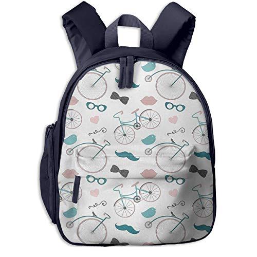 Sac à Dos Enfant Garderie Maternelle Sac Creche Sac Animaux École Mignon pour Bébé Fille Garçon Coeur de vélo de Moustache