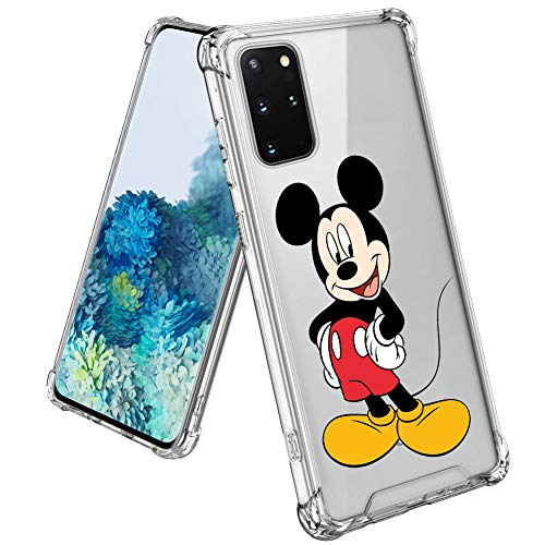 DISNEY COLLECTION Case for Samsung Galaxy S20 Plus Mickey Mouse Clear Slim Four Corners Shockproof Protection Design Back Cover for Samsung Galaxy S20+ 6.7 Inch-Crystal Clear