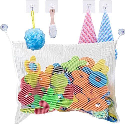 SISTER LUM 1 Baby Bath Organizer Mesh Toy Bag with 4 Bonus Strong Adhesive Hooks White