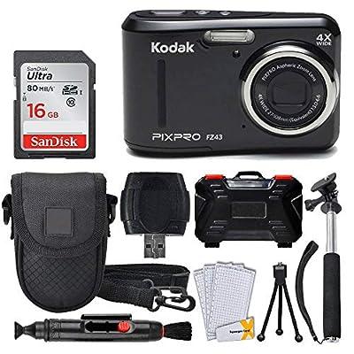 Kodak PIXPRO FZ43 16.15MP Digital Camera with 4X Optical Zoom + SanDisk 16GB Ultra SDHC 80MB/s Memory Card (Class 10) + Point & Shoot Camera Case + Extendable Monopod + Accessories from Kodak