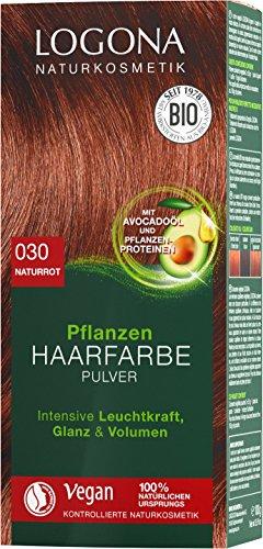 LOGONA Naturkosmetik Pflanzen-Haarfarbe Pulver 030 Naturrot, Mit Avocadoöl, Vegan & Natürlich, Rote Natur-Haarfarbe mit Henna, Coloration, 100g