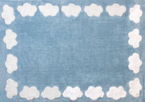 Aratextil Nube Alfombra Infantil, Algodón, Celeste, 120x160 cm