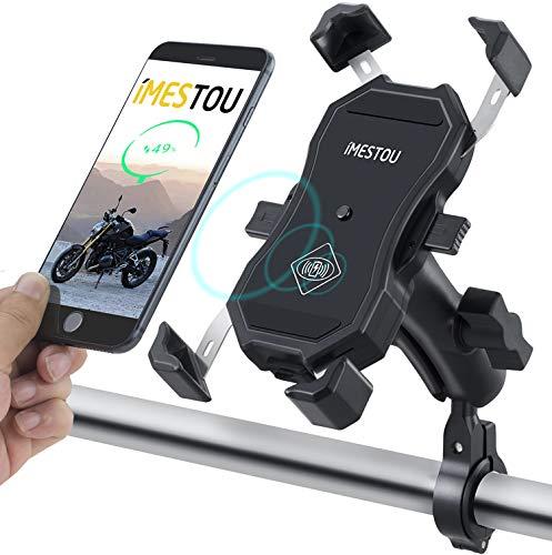 iMESTOUオートバイ電話ホルダーワイヤレス充電器qi USBクイック充電2 in 1ハンドルバーバイク携帯電話マウント防水ダブルボール720回転保護バンド付きスーパーセーフ3.5-6.5インチスマートフォン用