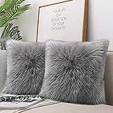 QUANHAO 2er Set Soft Künstlich Pelz Throw Kissenbezüge Set Dekorative Dekokissen Kissen Fall für Sofa Schlafzimmer Kissenbezug gegen Wolle45x45cm (grau 2 Stück)
