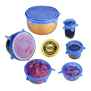 Silicone Stretch Lids, 6-Pack with Various Sizes Reusable Kitchen Gadget, Preserve Food, Food Safe