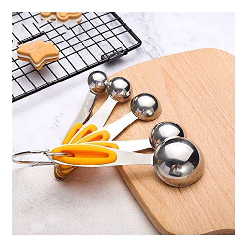 LLS Steel Measuring Spoons Set Of 5, Small Measuring Spoons for Baby Food Supplement Baking Kitchen Tools HuiShao-0810
