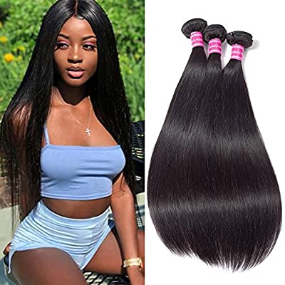Gabrielle 7A Brazilian Virgin Remy Human Straight Hair 3 Bundles 100% Unprocessed Human Hair Extension Natural Color Hair (100+/-5g)/pc ...