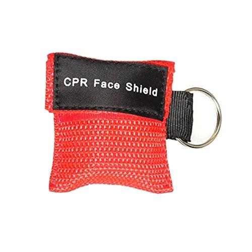 WFZ17Gesichtsmaske für Erste Hilfe/ Mund-zu-Mund-Beatmung, mit Schlüsselanhänger rot