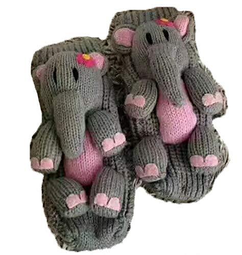 PreSox Anti-Rutsch-Strickpullover Warm Haushalt Socken für Frauen (grey elephant)