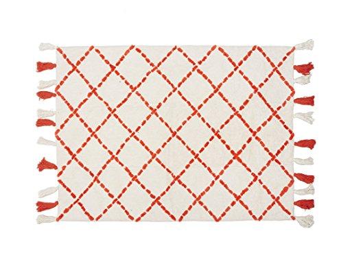 Aratextile. Tapis pour enfant 100 % coton lavable en machine Collection Bereber Tanger Orange 120 x 160 cm