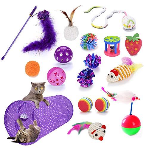 H for Happy Home Interaktives Spielset für Katzen, Kätzchen, Spielmaus für den Innenbereich, 17-teilig