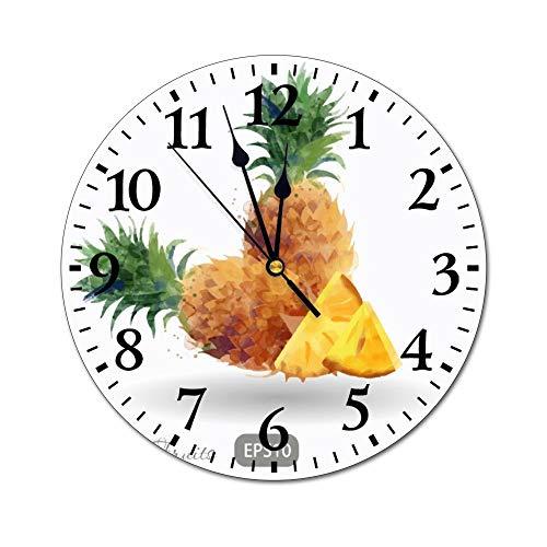 Mesllings Reloj de Pared de Cristal Redondo con diseño de piñas y Frutas, para Cocina, Oficina, Estilo Retro, para decoración del hogar