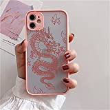 EYZUTAK Case for iPhone 7 iPhone 8 iPhone SE 2020, Clear Fashion Animal Sculpture Dragon Cartoon Pattern Frosted PC Back 3D and Soft TPU Edge Bumper Silicone Shockproof Protective Case - Pink