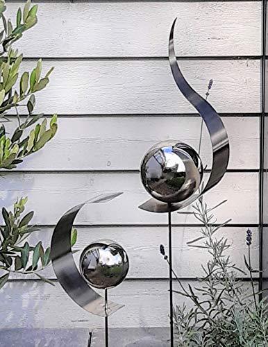 Modern Art 2er Set Gartenstecker Edelstahl Tropfen und Halbkreis mit Kugel Metall Gartendeko Beetstecker Topstecker
