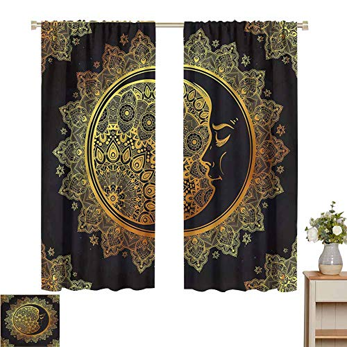 Wear Pole Curtains Small Window Curtain Intricate Bohemian Ornament Decorative Shading Set of 2 Panels W55 x L72
