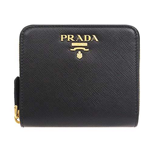 [プラダ]PRADA財布(二つ折り財布)1ML036QWAネロサフィアーノレザーメタルレタリングロゴスモールラウンドジップウォレットレディース[ブランド][並行輸入品]