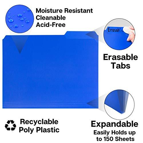 Dunwell Plastic Blue File Folders - (12 Pack of Folders), 3 Tab Folders Plus Removable Labels, Letter Size, Plastic File Folders Colored, 1/3-Cut Tabs, Poly Folders, More Durable Than Manila Folders Photo #6