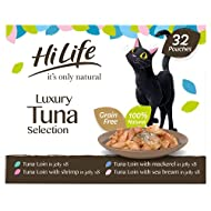 HiLife it's only natural Luxury Tuna Selection in Jelly Adult Wet Cat Food Pouches 32 x 50g