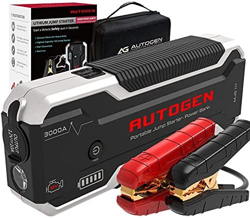 AUTOGEN Avviatore Batteria Auto, 3000A 24000mAh(10.0L Benzina& Diesel), 12V Avviatore di Emergenza, caricatore USB 3.0 a ricarica rapida, Avviatore Emergenza per Auto per auto, SUV, camion.