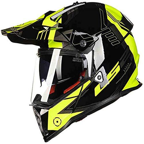 ZHXH Motorradhelm Für die Kollisionsbekämpfung bei Erwachsenen im Gelände, Entdeckung eines vierrädrigen Mountainbike-Helms/Punkt genehmigt/mit Doppelmaske,