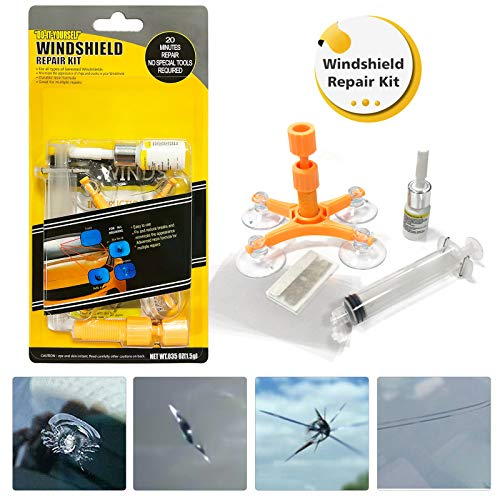 GLISTON Car Windshield Repair Kit, Auto Glass Repair Kit for Chips and Cracks, Star-Shaped, Bulls-Eye, Nicks, Half-Moon Crescents